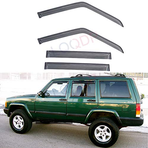 LQQDP 4pcs Front+Rear Smoke Sun/Rain Guard Outside Mount Tape-On Window Visors Fit 84-01 Jeep Cherokee 4-Door