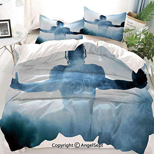 Homenon Sport Decor Duvet Cover Set King Size,Heroic Shaped Rugby Player Silhouette Shadow Standing in Fog Playground Global Sports Photo,Decorative 3 Piece Bedding Set with 2 Pillow Shams