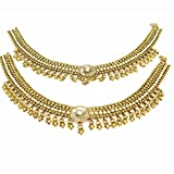 Jewelshingar Jewellery Polki / Kundan /Gold Plated Payal / Pajeb / Anklet For Women ( 14974-payal )