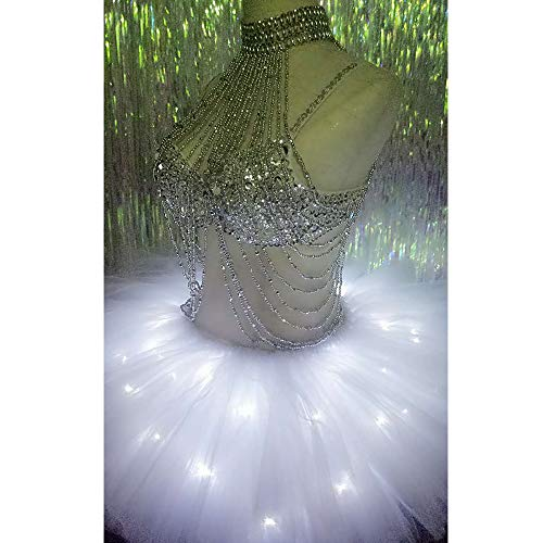Tutu Lumires Sensen Club Petite Night Robe Womens Up Party De Fancy Jupe pour Halloween avec Liu Light Main LED Robe Danse Bubble Jupe La Paillettes des Jupe fCqwIdI8