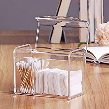 Sooyee 3 Partitions Cotton Ball and Swab Holder Organizer with Lid, Clear Acrylic Cotton Pad Container for Cotton Swabs, Q-Tips, Make Up Pads, Cosmetics and More