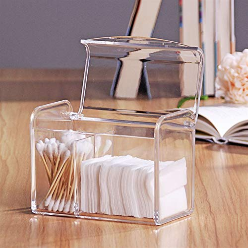 (Sooyee 3 Partitions Cotton Ball and Swab Holder Organizer with Lid, Clear Acrylic Cotton Pad Container for Cotton Swabs, Q-Tips, Make Up Pads, Cosmetics and More)