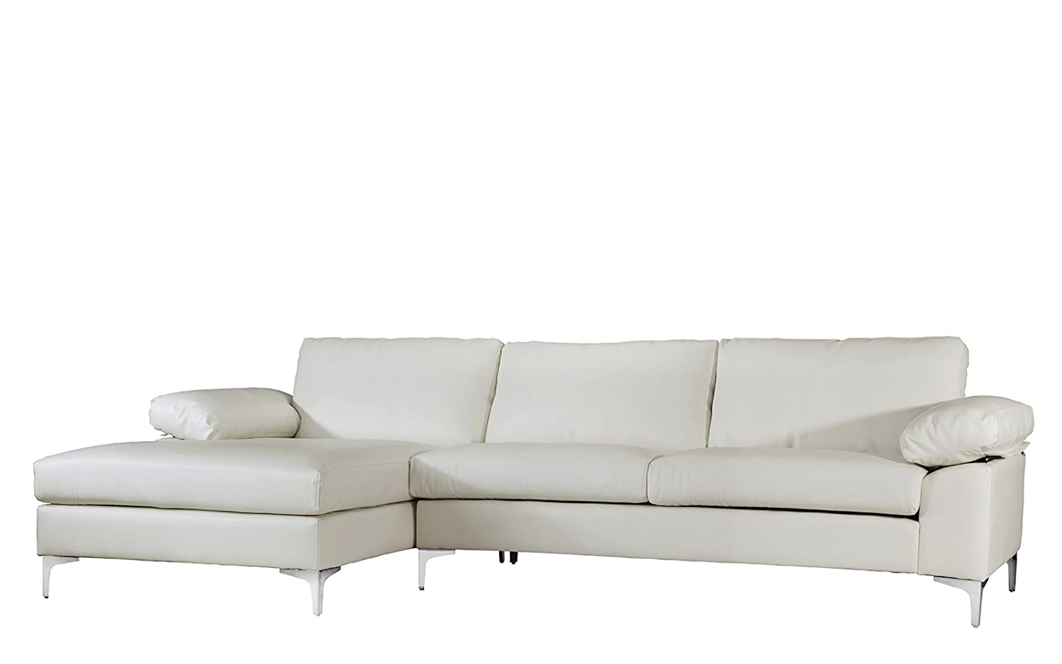 Modern Large Faux Leather Sectional Sofa Couch w/ Extra ...