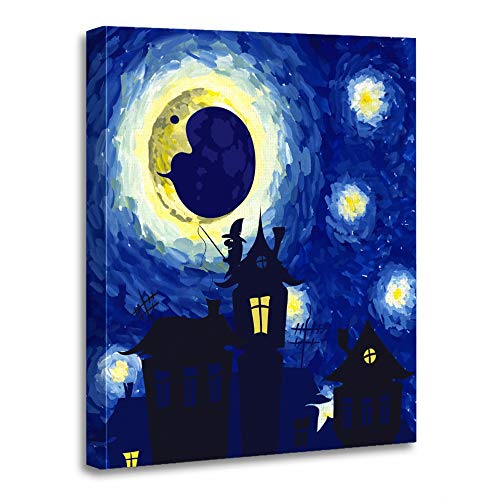 (Emvency Painting Canvas Print Artwork Decorative Print Wooden Frame Watercolor Star Starry Night in The Style of Van Gogh Halloween Antenna Black 12x16 Inches Wall Art for Home)