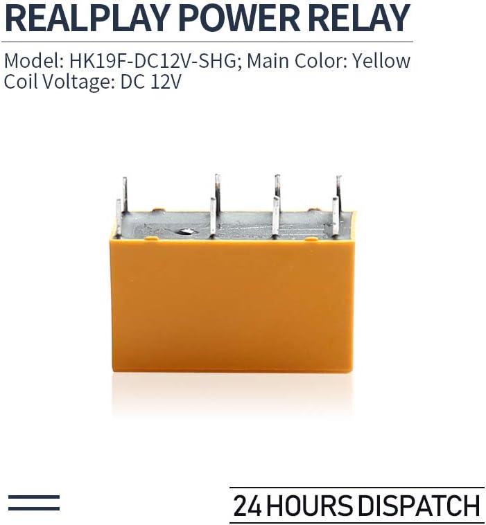 Yellow 5pcs HK19F-DC12V-SHG DC 12V Coil DPDT 8Pin PCB Realplay Power Relay