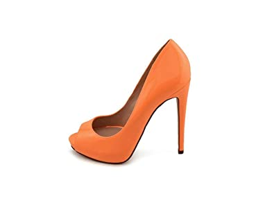 Truth or Dare by Madonna Womens Jabulania Peep Toe Classic Orange Size 7.5
