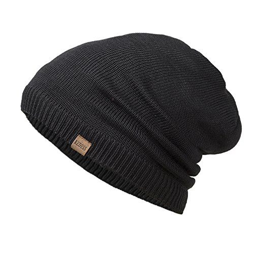 Beanie Cap Mens (REDESS Slouchy Long Oversized Beanie Hat for Women and Men, Variy Styles and Colors Fleece Lined Winter Warm Knit Cap (Black))