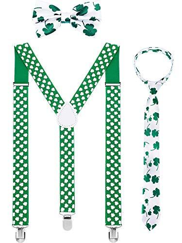 Chuangdi Y Back Suspender, Adjustable Pre-tied Bowtie, Green Shamrock Necktie for Men Women St. Patrick's Day Accessories, 3 Pieces (Green Clover in White) -