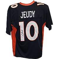 $129 » Jerry Jeudy Autographed/Signed Pro Style Blue XL Jersey BAS
