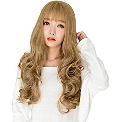 ChainSee Women's Fashion Sexy Air Bangs Wavy Curly Long Hair Full Cosplay Wig Party Costume Accessories (gold)