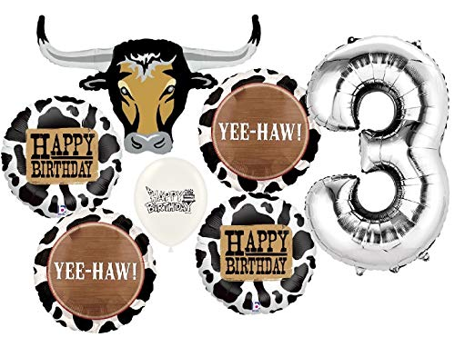 Ultimate Western Longhorn 3rd Birthday Party Event Bouquet of Balloons