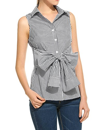 Meaneor Womens Vertical Striped Button Down Bow Sleeveless Turndown Blouse Casual Tank Tops
