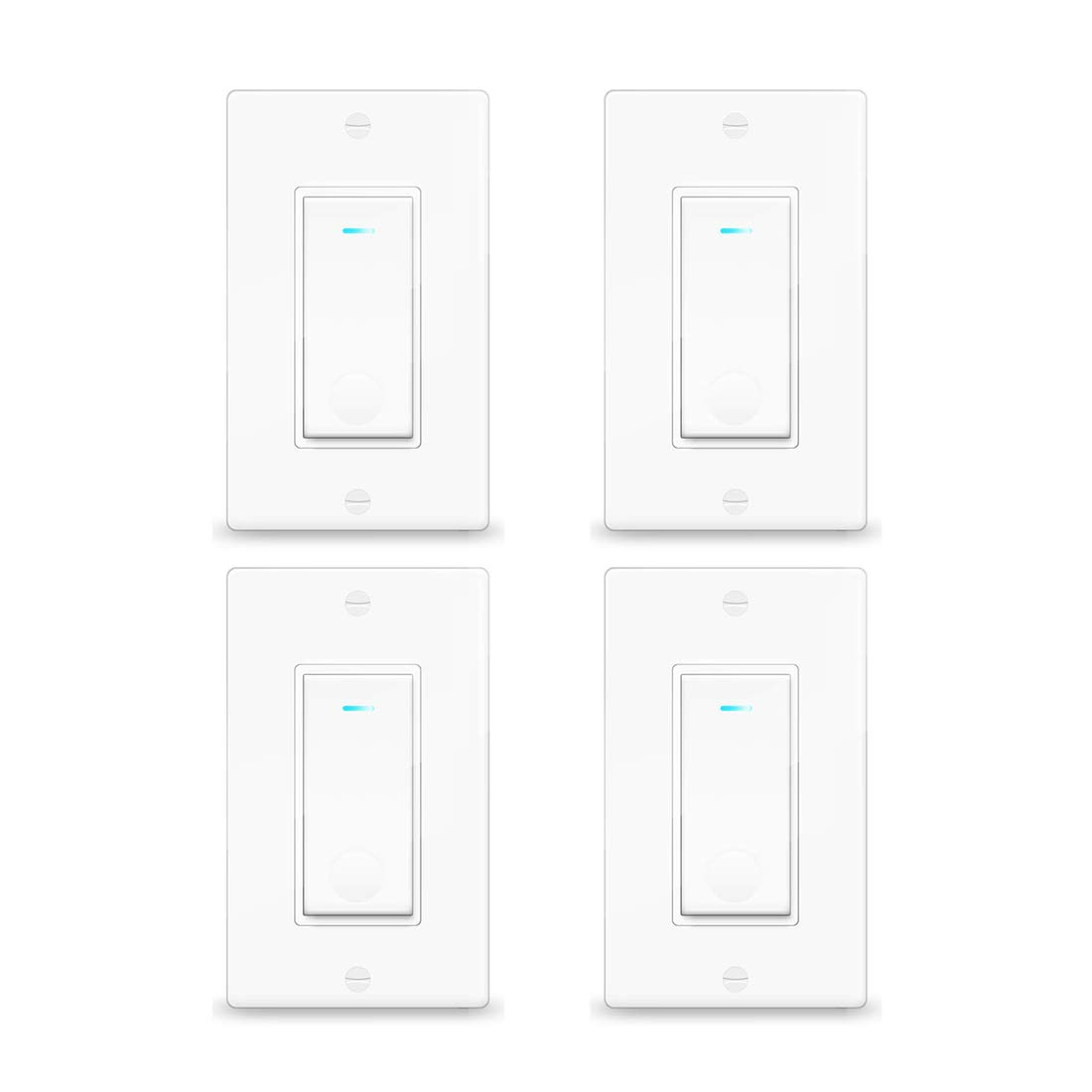Smart Light Switch Vaticas Compatible with Alexa Google Assistant IFTTT, WiFi Remote Control Timer Function Fireproof Intelligent Memory Function in-Wall, Single-Pole, No Hub Required(4pack) by Vaticas