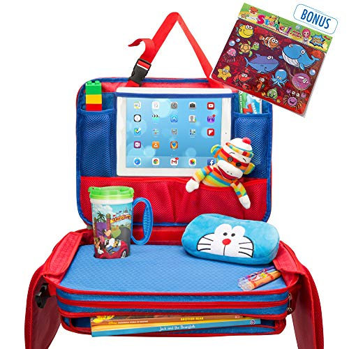 Go Top Seat - Kids Travel Tray - Detachable Top 4-in-1 Car Organizer w Tablet Holder - Play Snack Lap Table - On The Go Activity Desk for Children Toddlers - Backseat Storage - Stroller Accessories w Extra Bonus