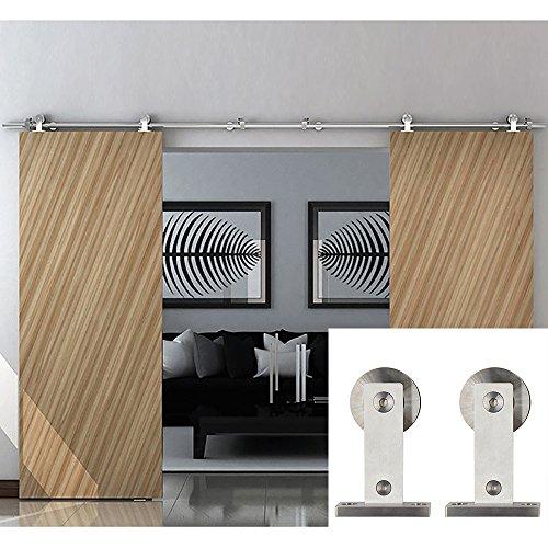 12' Decorative Surface Bolt (Hahaemall Antique Modern Interior 8-13ft Stainless Steel Barn Door Hardware Double Sliding Wooden Door Closet Kit (12FT / Double Door KIt))
