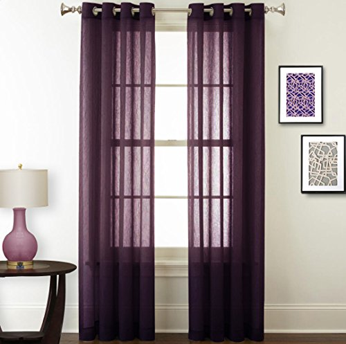NICETOWN Sheer Curtain Solid Panels  Light Filtering Crushed Sheer Window  Curtain Panels With Grommet Top For Living Room (2 Pack, 52 Wide X 63 Inch  Long, ... Part 64