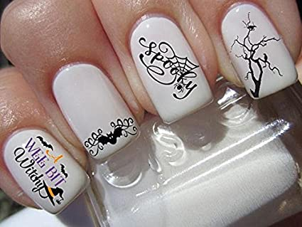 Halloween nail art set x 20 witchy witch spooky bats and trees Decals water  transfer decals - Amazon.com: Halloween Nail Art Set X 20 Witchy Witch Spooky Bats And