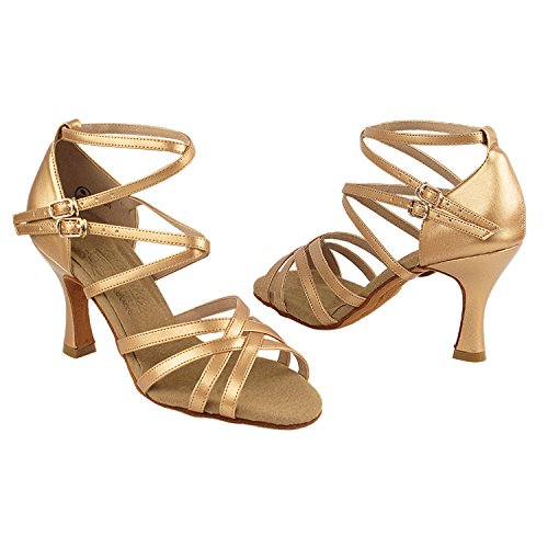 Women Theather Bronze Vegan Tango Swing Shoes Ballroom by Party of Art Shoes Heels Salsa Latin Pumps Comfort Collection S9206 Dress Evening for 2 amp; Dance ~50 Wedding Shades 5