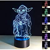 3D Lamp,3D Optical Illusion LED Night Light 7 Colors Changing LED Table Desk Lamp Yoda Figure Shape LED Nightlight Home Decoration Gifts Toys for Children Kids