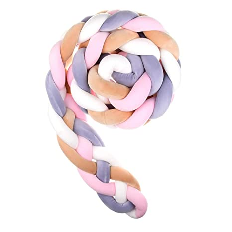 Wanguo Cuna Cojín Trenzado Almohada Bebé Cabeza Protector Nudo Parachoques Trenza Almohada Cojín para Cama De Bebé (Color : L-Pink+White+Beige+g-PURP, ...