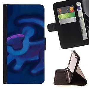 - Queen Pattern FOR Samsung Galaxy Core Prime /La identificaci????n del cr????dito ranuras para tarjetas tir????n de la caja Cartera de cuero cubie - lion art cave painting blue p