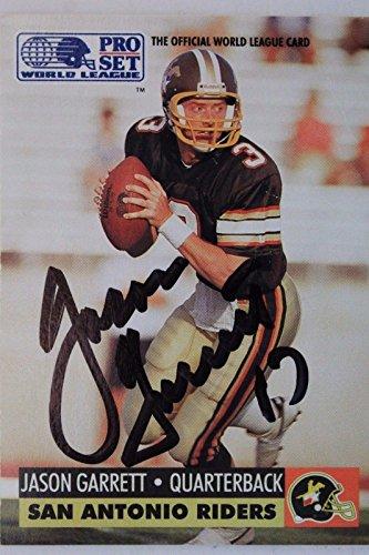 Jason Garrett SA Riders Princeton Autograph 1991 WL Pro Set #31 Signed Card 16J