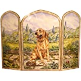 The Stupell Home Decor Collection 3 Panel Outdoor Decorative Dog Fireplace Screen, Golden Retriever, 43 by 31 by 0.5-Inch