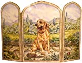 Stupell Home Décor 3 Panel Decorative Dog Fireplace Screen, Golden Retriever, 43 x 0.5 x 31, Proudly Made in USA