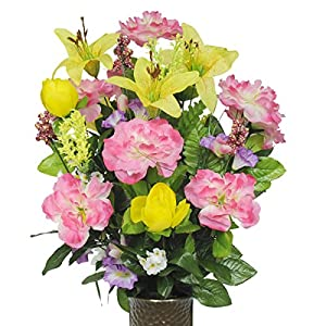 Stay-In-The-Vase Artificial Cemetery Flowers for Outdoor-Grave-Decorations - Yellow and Pink Mix Bouquet Fake-Flowers, Non-Bleed Colors and Design 1