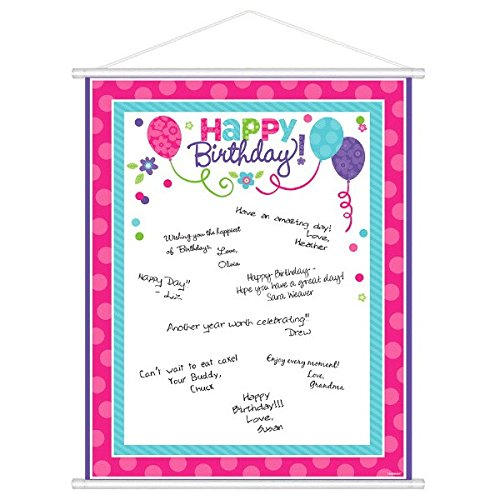 Amscan 270156 Purple & Teal Customizable Scroll Sign-In Sheet 24