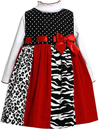 Bonnie Baby Baby Girls' Newborn Colorblock Print Corduroy Jumper, Red 3-6 Months