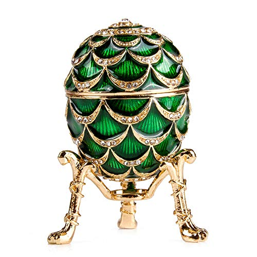 Imperial Pinecone - OrlovNY Fabergé Style Egg Jewelry Box Pine Cone Imperial Egg Jewelry Box w/Clock in Green