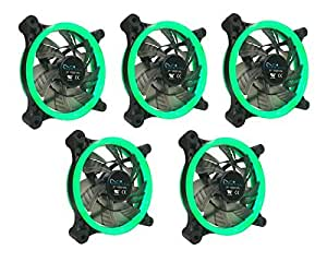 APEVIA 512L-CGN 120mm Silent Dual Rings Green LED Fan with 32 x LEDs & 8 x Anti-Vibration Rubber Pads (5 Pk)