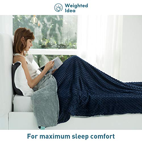 Weighted Idea Weighted Blanket with Removable Twin Cover 20 lbs for Adults 48''x78'' Grey/ Navy Blue Dot ( Weighted Blanket + A Duvet Cover)