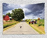 Ambesonne Rural Decor Tapestry, Farmhouse on Country Road with Barn and Tractor on Side in Stormy Day Picture, Wall Hanging for Bedroom Living Room Dorm, 80 W X 60 L inches, Multicolor