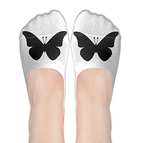 Black Simple Butterfly No Show Liner Boot Socks Non Slip Boat Liner Socks Summer Socks For Women for $<!--$14.70-->
