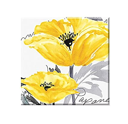 Amazon.com: Genius Decor Modern Vibrant Yellow Grey Decor, Poppy ...