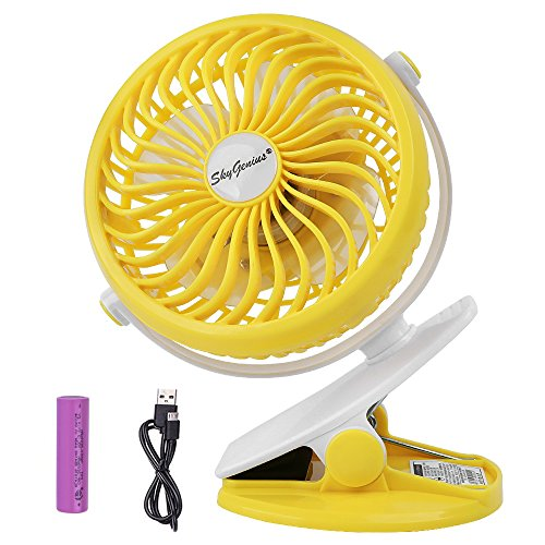 Battery Operated Clip on Fan for Baby Stroller Car Back Seat Laptop Travel Outdoors Camping,Small Personal Fan Mini Desk Table Fan Portable Hand Held Powered by Rechargeable 2600mAh Battery or USB (Back Stroller)
