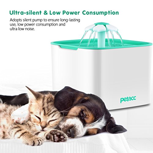 Pet Fountain Cat Dog Water Dispenser with Pump and 4 Replacement Filters - Healthy and Hygienic 2L Super Quiet Automatic Electric Water Bowl, Drinking Fountain for Dogs, Cats, Birds and Small Animals by Petacc (Image #5)