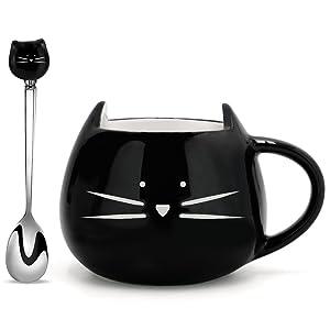 Koolkatkoo Cat Coffee Mug, Ceramic Cup with Spoon Gifts for Women Girls Cat Lovers Cute Tea Mugs 12 oz Black …
