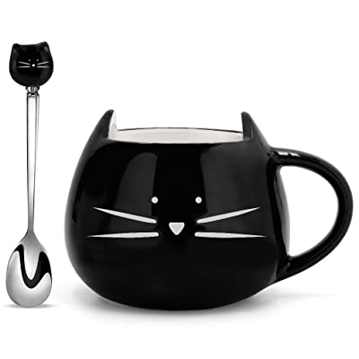 Koolkatkoo Cat Coffee Mug, Ceramic Cup with Spoon Gifts for Women Girls Cat Lovers Cute Tea Mugs 12 oz