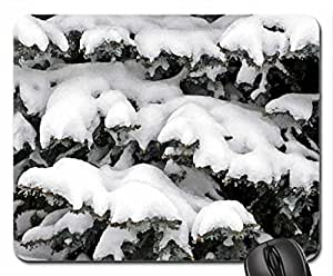 Snowy Pines Mouse Pad, Mousepad (Winter Mouse Pad, Watercolor style)