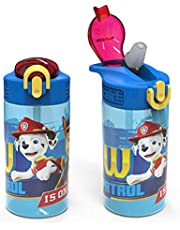 Zak Designs Kids Durable Plastic Spout Cover and Built-in Carrying Loop, Leak-Proof Water Design for Travel, (16oz, 2pc Set), Paw Patrol Marshall Bottle 2pk