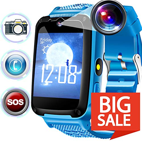 Kids Phone Smart Watch, Calling Smartwatch with SOS for 3-14 Yr Boys Girls, Touch Screen Camera Digital Wrist Outdoor Travel Cellphone Watch Bracelet for Prime Holiday Summer Back to School Gift]()