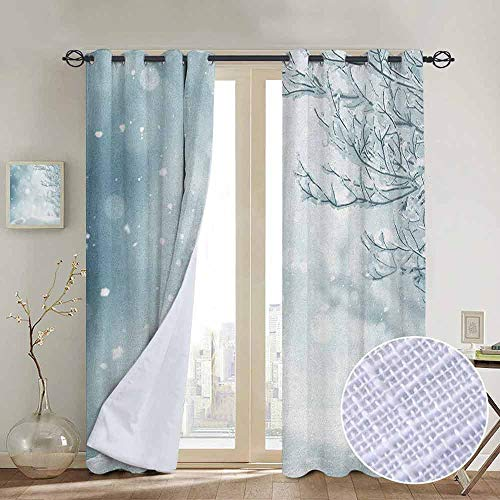 """NUOMANAN Thermal Insulated Blackout Curtain Winter,Christmas Image Snow and Frosted Tree Snowflakes Winter Season Illustration, Slate Blue White,Blackout Draperies for Bedroom Living Room 84""""x84"""""""