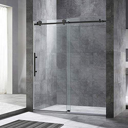 "WOODBRIDGE Frameless Sliding Shower, 54""-60"" Width, 76"" Height, 3/8"" (10 mm) Clear Tempered Glass, Matte Black Finish, Designed for Smooth Door Closing and Opening. MSDC6076-MBL, 60""x76"","
