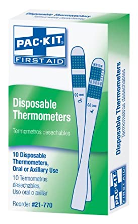 Pac-Kit by First Aid Only 21-770 Disposable Thermometer (Box of 10)