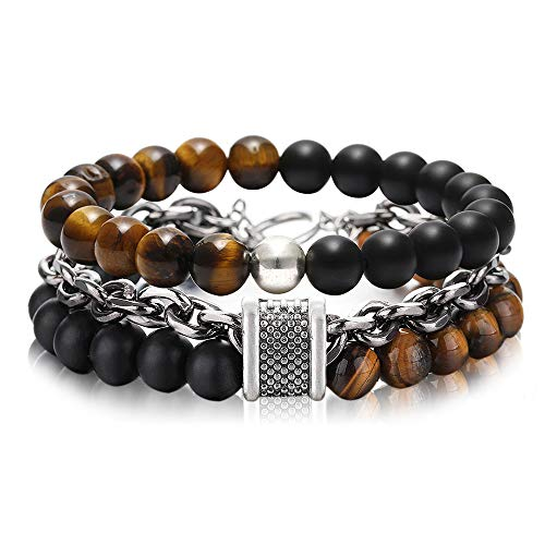 FUTTMI 8mm Jasper Stone Tiger Eye Stone Beads Bracelet Stainless Steel Rolo Cable Link Chain Double Bracelet for Men Boys (Turquoise Link Bracelet Set)