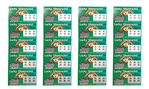 - Fake Lottery Tickets-LUCKY SHAMROCK ST PATRICKS DAY (Pack 20 Tickets)-Each ticket is a fake winner of 20,000 or more!!! Big Winners That Look Like Real Scratch Off Tickets Bulk Pack