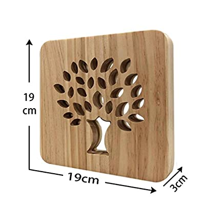 Natural Wooden Night Lamp for Kids,Wood Baby Table Lamp for Breast-feeding with 3D Illusion, Perfect Birthday Gift USB Line Safety Desk Lamp Christmas present Decoration Light
